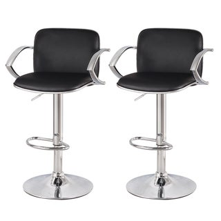 Adeco 360 Degree Swivel Adjustable Hydraulic Lift Durable Bar Stool with Chormed Arm, Set of Two