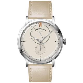 Stuhrling Original Men's Quartz Beige Leather Strap Watch