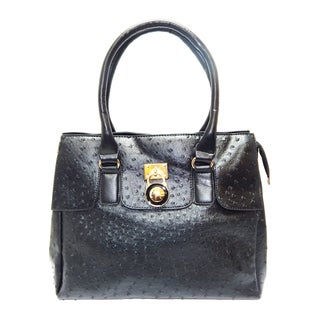 Vecceli Italy Fine Faux Ostrich Embossed Leather Handbag