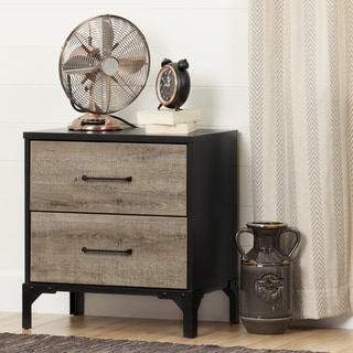 South Shore Valet Black Finish 2-drawer Nightstand