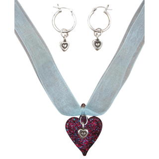 Beadwork By Julie Sterling Silver and Lampworked Glass Heart Organza Ribbon Necklace Set