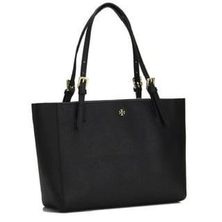 Tory Burch 'York' Black Leather Buckle Tote Bag