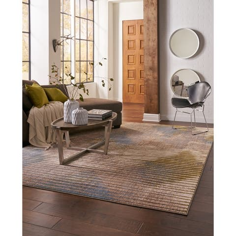 """Mohawk Home Muse Wireframe Celery Area Rug (5'3 x 7'10) - 5'3"""" x 7'10"""""""