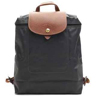 Longchamp Le Pliage Gun Leather/Nylon Fashion Backpack