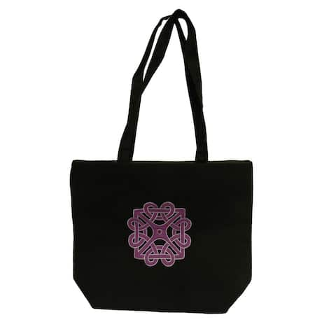 Handmade Donna Bella Purple Cotton Embroidered Tote Bag