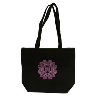 Donna Bella Purple Cotton Handcrafted Embroidered Tote Bag