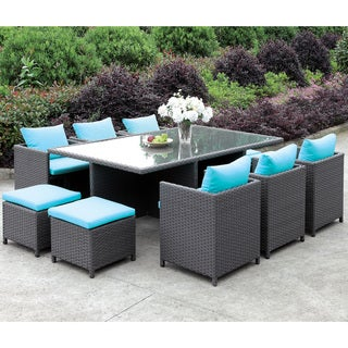 Furniture of America Lani Contemporary 11-piece Turquoise/Light Brown Patio Dining Set