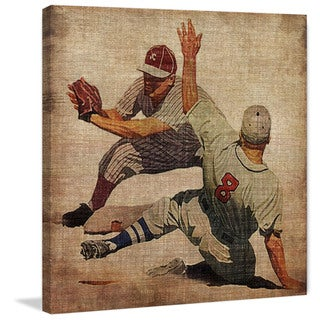 Marmont Hill - 'Vintage Baseball Slide' Painting Print on Wrapped Canvas - Multi-color