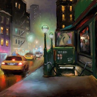 Marmont Hill - 'NY Street Lights' by Rick Novak Painting Print on Wrapped Canvas