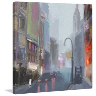 Marmont Hill - 'NY Street Lamp' by Rick Novak Painting Print on Wrapped Canvas