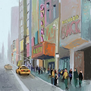 Marmont Hill - 'NY Sidewalk' by Rick Novak Painting Print on Wrapped Canvas
