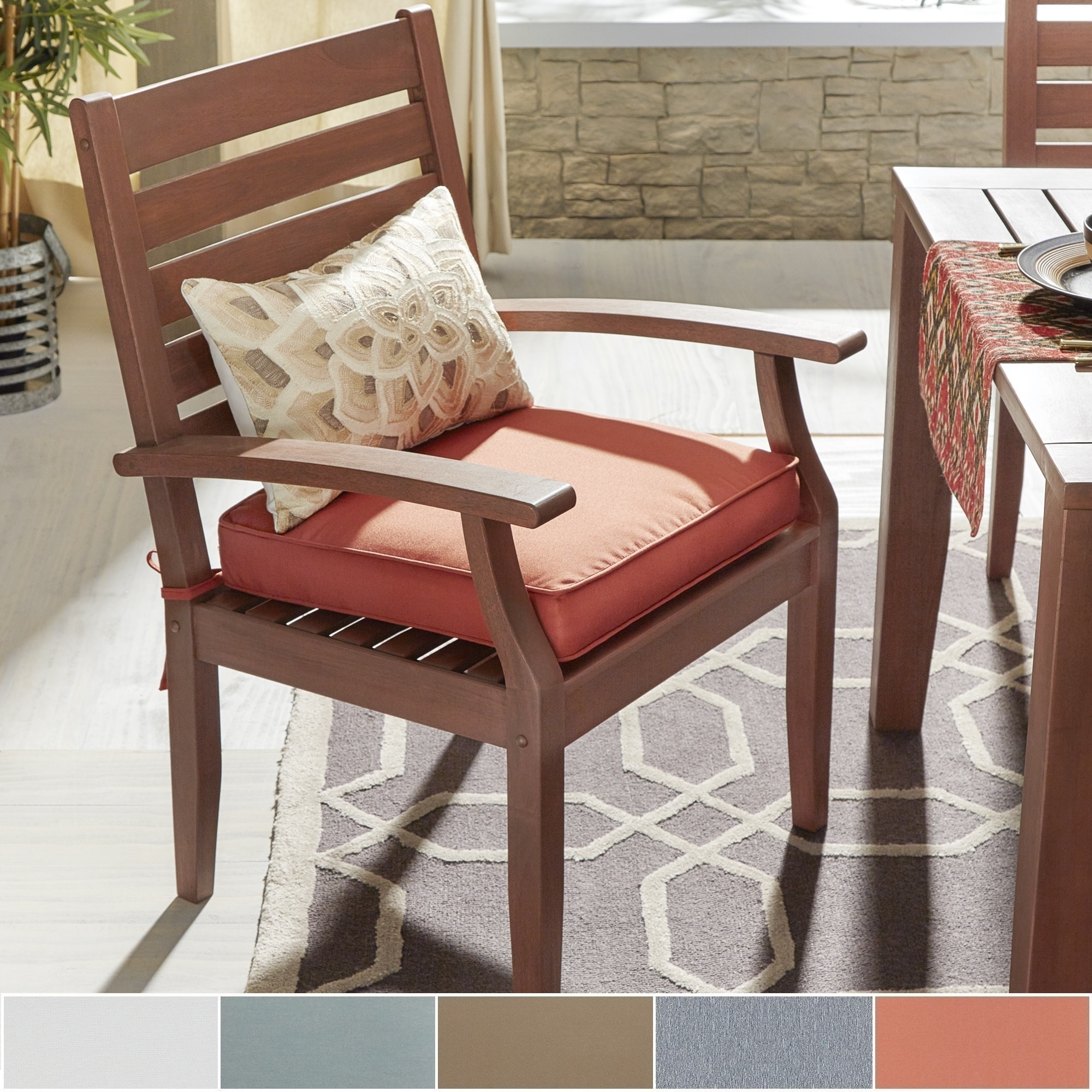 Yasawa Modern Wood Outdoor Cushioned Dining Arm Chair by ...