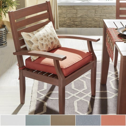 Yasawa Modern Wood Outdoor Cushioned Dining Arm Chair (Set of 2) by iNSPIRE Q Oasis