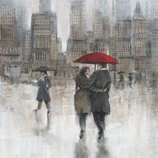 Marmont Hill - 'City Rain' Painting Print on Wrapped Canvas