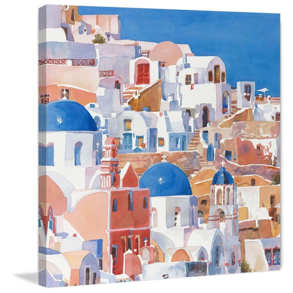 Marmont Hill - 'Santorini Watercolor II' Painting Print on Wrapped Canvas - Multi-color
