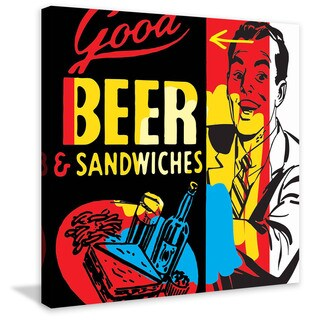 Marmont Hill - 'Beer & Sandwiches' by Josh Ruggs Handmade Painting Print on Wrapped Canvas (United S - Multi-color