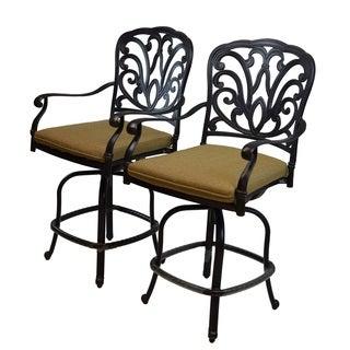 Buckingham Cast Aluminum Bar Stools with Cushions (Sety of 2)