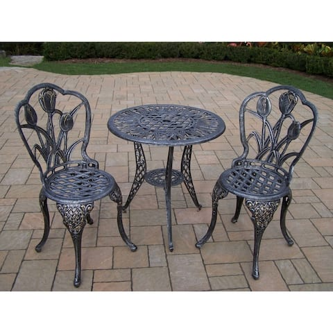 Tierra 3 Piece Bistro Set with 26-inch table and 2 Chairs