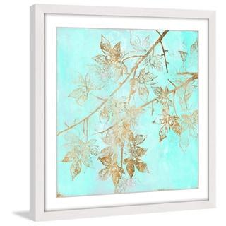 Marmont Hill - 'Aqua & Gold Maple II' Framed Painting Print