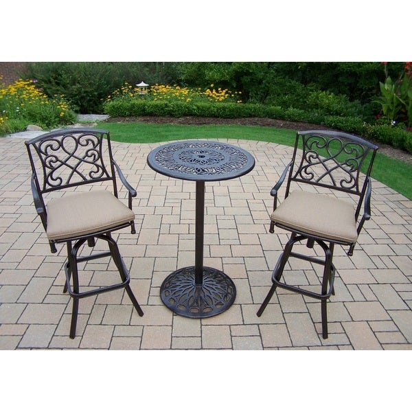 Elegance Cast Metal Bar 3 Pc. Set With Round Bar Table And 2 Cushioned  Swivel