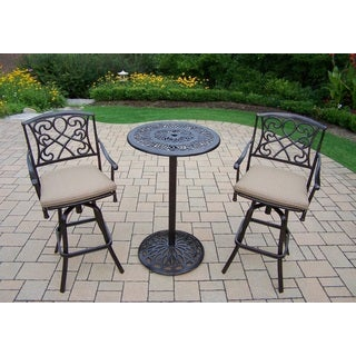 Elegance Cast Metal Bar 3 Pc. Set with Round Bar Table and 2 Cushioned Swivel Bar Stools