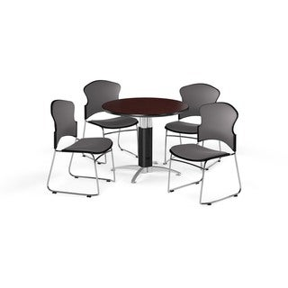 OFM Mahogany 36-inch Laminate Top Round Mesh Base Table with 4 Fabric Chairs