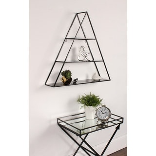 Kate and Laurel 'Tildan' Black Metal 3-tiered Triangle Floating Wall Shelf