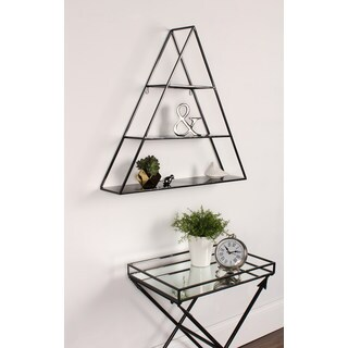 Kate and Laurel Tildan Black Metal 3-tiered Triangle Floating Wall Shelf