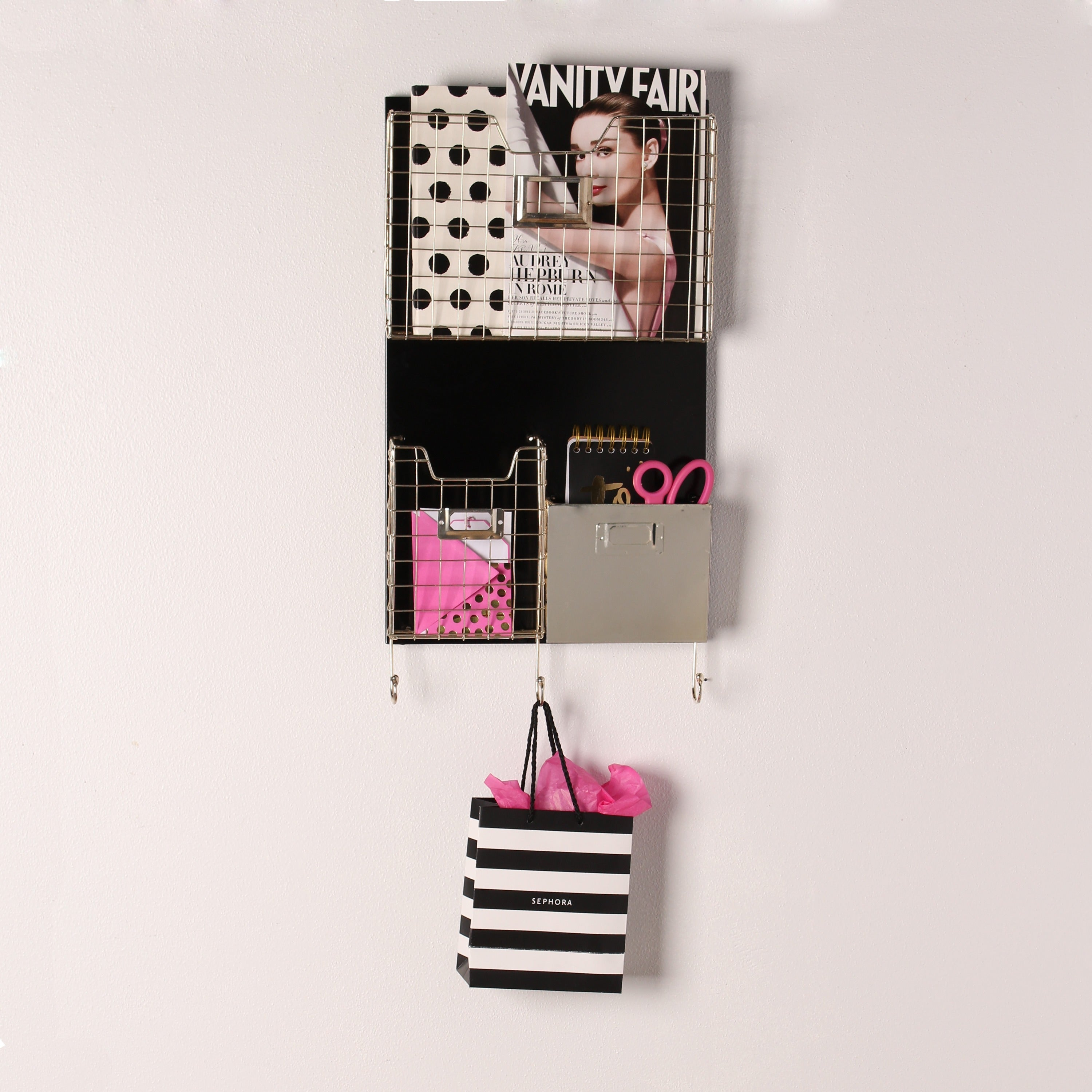 Nicholas Hanging Metal Wall Organizer with Baskets and Ho...