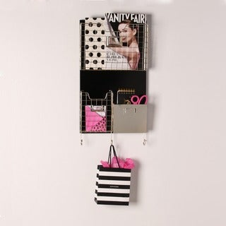 Nicholas Hanging Metal Wall Organizer with Baskets and Hooks