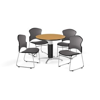 OFM Cherry 36-inch Laminate Top Round Mesh Base Table with 4 Fabric Chairs