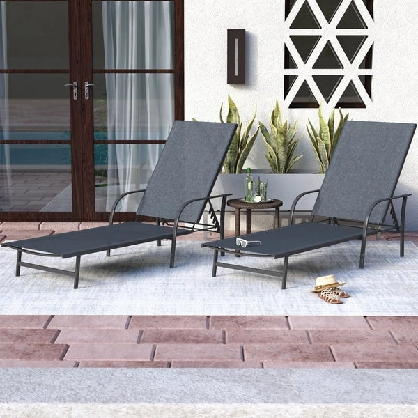 Corvus Antonio Outdoor Black Sling Fabric Adjustable Chaise Lounge