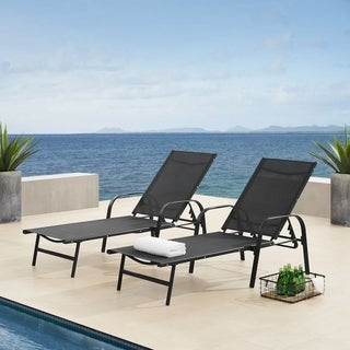 Corvus Antonio Black Steel Frame Textilene Fabric Outdoor Chaise Lounger