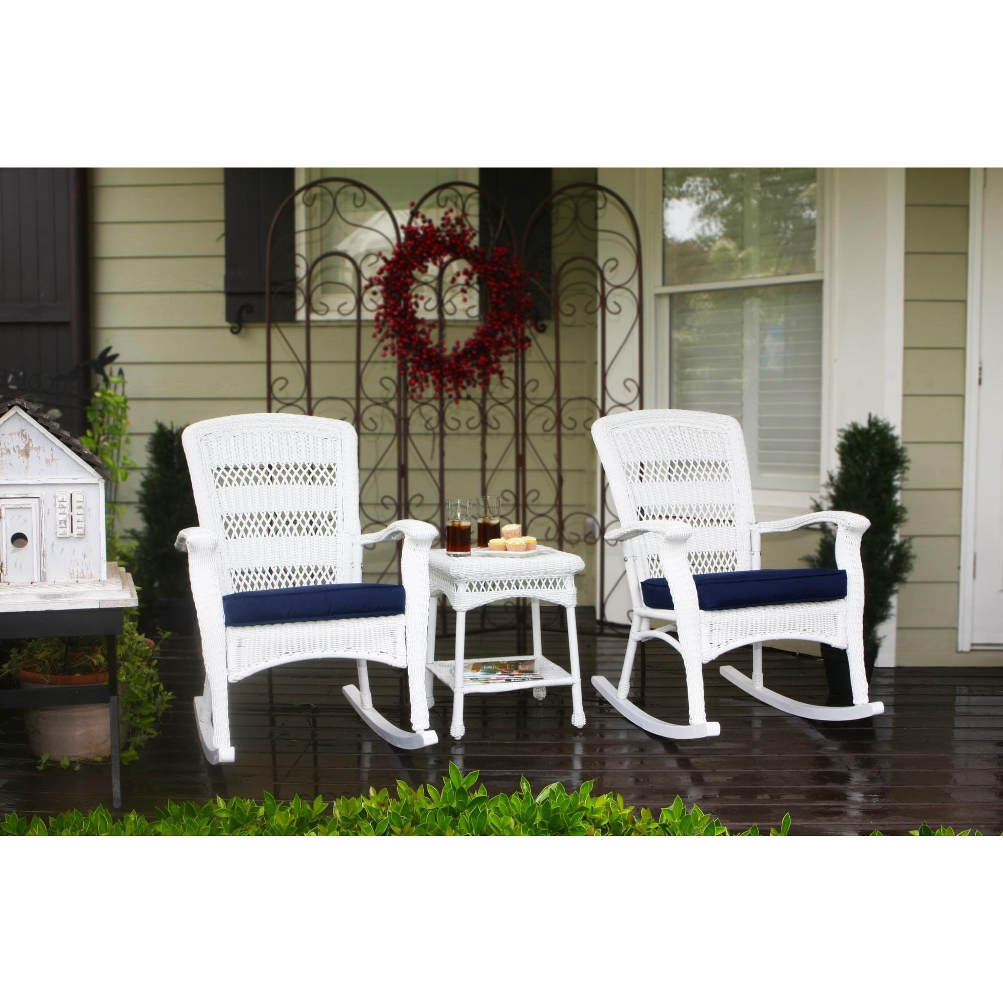Tremendous Havenside Home Avoca Coastal White Resin Wicker Outdoor Plantation Rocking Chair And Table Set Pack Of 3 Inzonedesignstudio Interior Chair Design Inzonedesignstudiocom