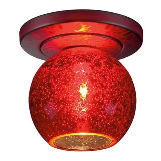 Bruck Lighting Bobo 1 - Low Voltage Bronze Ceiling Mount - Red Blubble Glass Shade