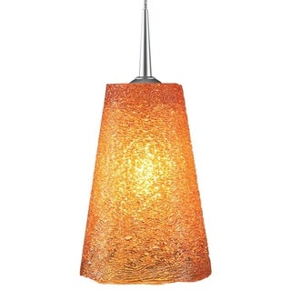 Bruck Lighting Bling 2 - Low Voltage 4-inch Kiss Canopy Matte Chrome Pendant - Amber Textured Glass Shade