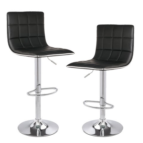 hydraulic Adjustable Height Barstool Stool Chairs with Chrome Finished Base (Set of 2)