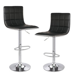 Adeco hydraulic Adjustable Height Barstool Stool Chairs, Chrome Finished Base, Set of Two