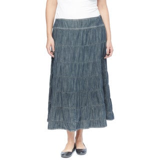 Live a Little Women's Blue Cotton Plus-size 7-tier Skirt