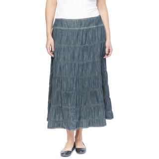 Live a Little Women's Blue Cotton Plus-size 7-tier Skirt (Option: 18w)|https://ak1.ostkcdn.com/images/products/13031350/P19772132.jpg?impolicy=medium