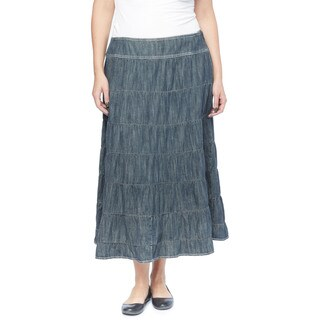 Live a Little Women's Blue Cotton Plus-size 7-tier Skirt (3 options available)