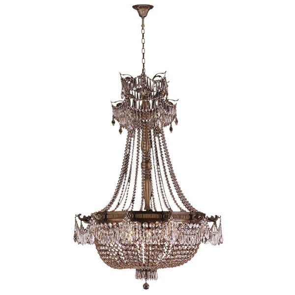 French Empire Basket Style Collection 12 Light Antique Bronze Finish And Clear Crystal Chandelier 36