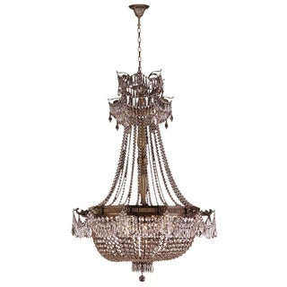 """French Empire Basket Style Collection 12 Light Antique Bronze Finish and Clear Crystal Chandelier 36"""" D x 50"""" H Large"""