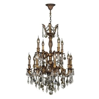 """French Royal Collection 12 Light Antique Bronze Finish and Golden Teak Crystal Chandelier 24"""" D x 34"""" H Two 2 Tier Large"""
