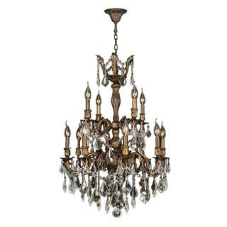 "French Royal Collection 12 Light Antique Bronze Finish and Golden Teak Crystal Chandelier 24"" D x 34"" H Two 2 Tier Large"