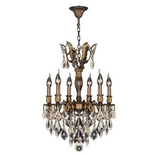 "French Royal Collection 6 Light Antique Bronze Finish and Golden Teak Crystal Chandelier 19"" D x 25"" H Medium"