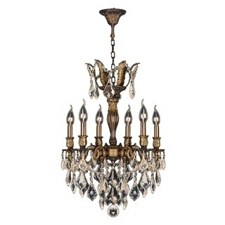 """French Royal Collection 6 Light Antique Bronze Finish and Golden Teak Crystal Chandelier 19"""" D x 25"""" H Medium"""