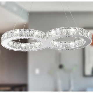 "Modern Euro Cosmos LED Collection 14 Light Chrome Finish Crystal Double Ring Dimmable Chandelier 26"" L x 13"" W x 2"" H Large"