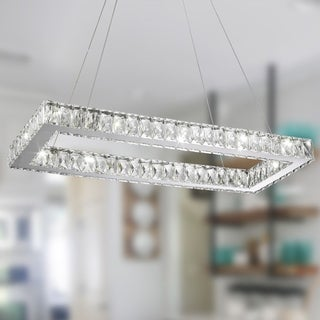 """Modern Euro Cosmos LED Collection 14 Light Chrome Finish Crystal Rectangle Dimmable Chandelier 28"""" L x 12"""" W x 2"""" H Large"""