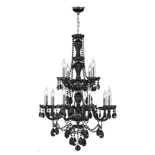 Venetial Italian Style Collection 12 Light Chrome Finish and Black Crystal Chandelier 28-inch x 41-inch Round Two 2 Tier Large